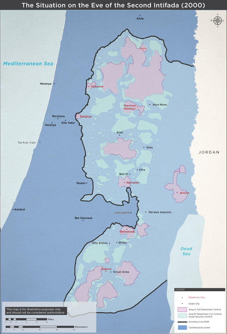 Map: The Situation on the Eve of the Second Intifada (2000)